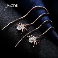 UMODE Spider Shaped Drop Earrings 18K Rose Gold Plated Round Cut AAA CZ Diamond Long Earrings For Women Fashion Jewelry AUE0175