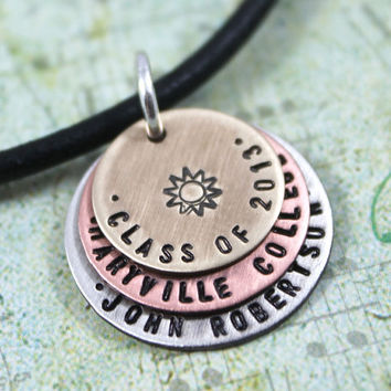 Graduation Gift, Class of 2013, Personalized Necklace for Senior Student, High School or College Graduation Gift