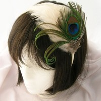 Peacock feather headband fascinator   TARI Design by Pegasusmaiden