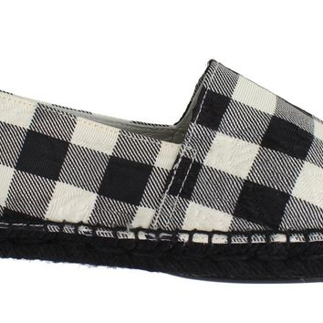 Checkered Brocade Espadrille Shoes Loafers
