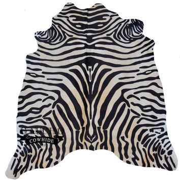 Cowhide Rug - Awesome Zebra Special Cowhide - Premium Quality - 100% Natural & Animal Product