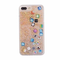 APP Icon Dynamic Quicksand Sequins Phone Case Cover For Apple iPhone 6/7/8 Plus