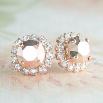 Rose gold earring,Swarovski rose gold crystal earring,crystal earring,crystal stud earrings,rose gold wedding,rose gold bridal jewelry