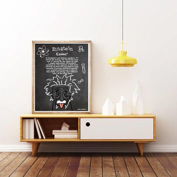 ALBERT EINSTEIN - E=MC2. Chalkboard  - Unique Poster. Limited Edition Print