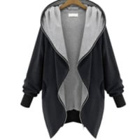 Spring Women Casual Tops Outerwear Hot Sale Fashion Black Hooded Long Sleeve Pockets Loose Coat