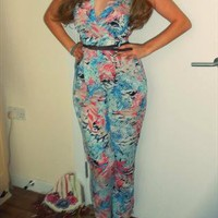 Blue and Pink Tropical Print JumpSuit , Sizes 8 -14 from RMW