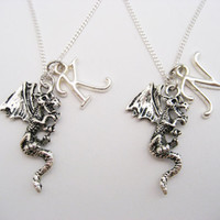 Dragon Necklace Set Personalized  Best Friends Necklace Set Initials Mythology Necklace Set Dragon Jewelry Dragon Lovers Choose Your Chain