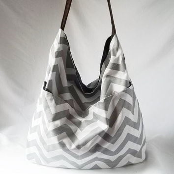 Grey Chevron Hobo - Zig zag handbag with Brown vegan suede strap - Handmade bags