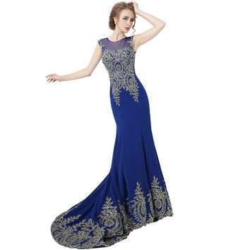 Hot Sale Long Chiffon Tank Mermaid Evening Dresses 2015 Robe De Soiree Gold Lace Ribbon Prom Party Dresses Real Photo XU039