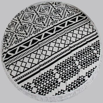 Round Towel Scarve Fashion Mandala Tapestry Beach Picnic Throw With Lace Rug Blanket Polyester Cotton Beach Towel