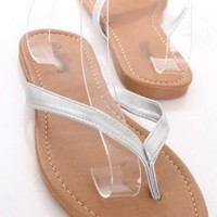 Silver Faux Leather Thong Strap Slip On Sandals