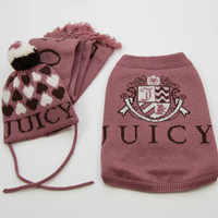 Juicy Couture Dog Sweater, Hat, & Scarf Set