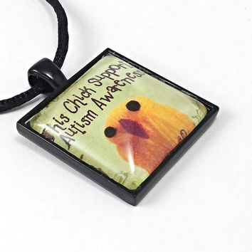 This chick supports autism awareness necklace, autism jewelry, Autism pendant, gift for autism mom, teacher, friends made in the U.S.