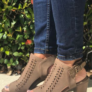 Denim and Dress Heels- Taupe
