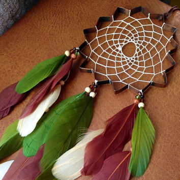Dream Catcher - Star - Unique - Modern - Green and Brown - Hippie - Bohemian