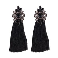 Aana Black Statement Tassel Earrings