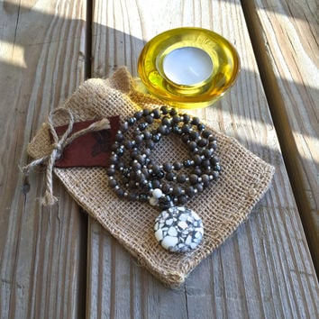 Hippie Necklace, Mala Beads, Bohemian Style Necklace, Gypsy Jewelry, Yoga Jewelry, Natural Wood Jewelry