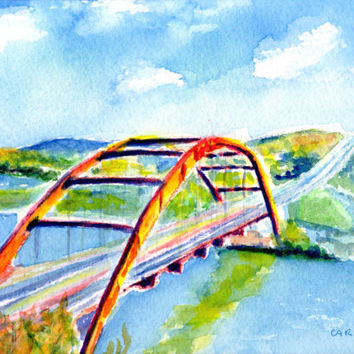 "Austin Texas Bridge, ORIGINAL Watercolor, 5x7"" painting, 8x10"" mat, 360 Pennybacker Bridge, Lake Austin,Skyline,Capital of Texas Highway,ATX"