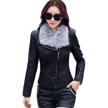 Fur Collar Detachable Women's Leather Motorcycle Outwear Faux Leather Coat Women Biker Jacket Perfecto Femme E0460