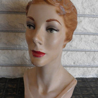 French Millinery Head, Mannequin, Hat Display