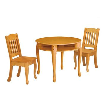 Teamson Kids Windsor Round Table & Chairs Set (Honey)
