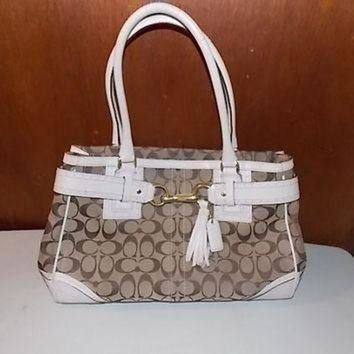 Vintage Coach Hamptons Signature Khaki Canvas & White Perforated Leather Large Bag Pur - Beauty Ticks