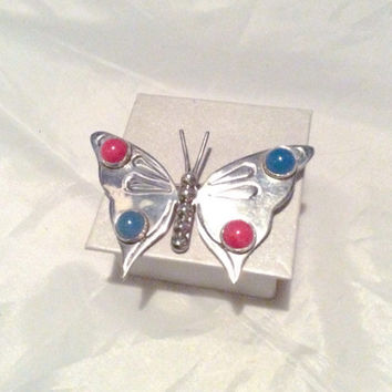 Mexican Brooch Butterfly Brooch Coral Chalcedony Sterling Silver Vintage Jewelry