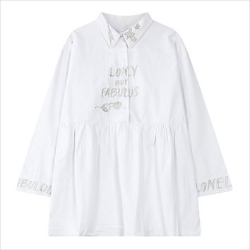 White Star Embroidery Shirt Dress