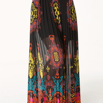 bebe Womens Print Pleated Maxi Skirt Lantern 1