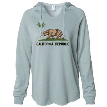 California Republic Weed Bear Women's Soft Hooded Pullover