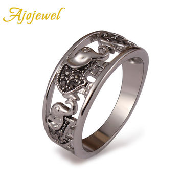 Ajojewel Brand Size 6,7,8,9 Vintage Animal Jewelry 18K White Gold Plated Black Rhinestones Elephant Ring For Women/Men