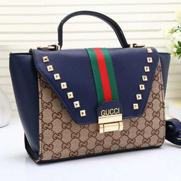 Gucci Women Leather Chain Crossbody Tote Handbag Satchel