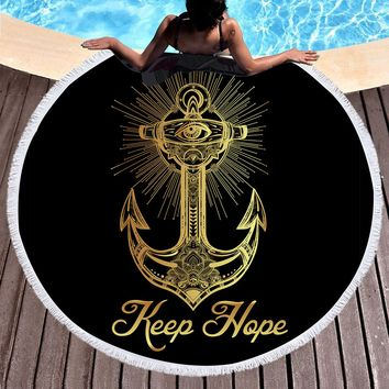 Round Beach Towel Anchor Tassel Yoga Towel