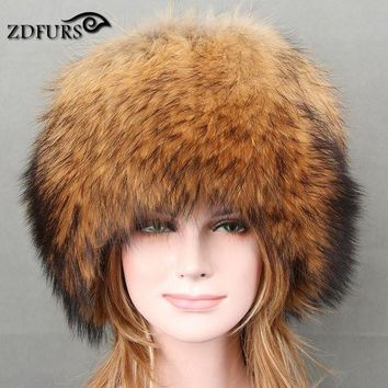 DCCKU62 Glaforny 2017 Autumn and winter Women 's Genuine Raccoon Dog Fur Hat Real Fox Fur Hat Dome Mongolian Caps for Russian Female