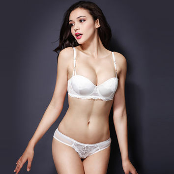Thick Long Hot Sale Hot Deal Ladies Bra Set Shiny Sexy Cup Permeable White Underwear False Eyelashes [6757929731]