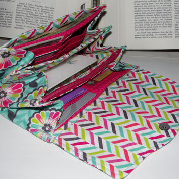Necessary Clutch Wallet, RTS, Great Handmade Gift, Floral fabric and chevron lining, NCW, Credit Cards, iPhone, Wristlet