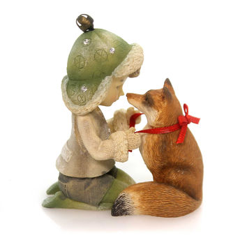 Christmas Elf With Fox Christmas Figurine