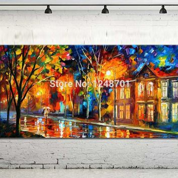 Large Handpainted Lovers Rain Street Landscape Oil Painting On Canvas Palette Knie Wall Picture For Home Decoration Wall Decor