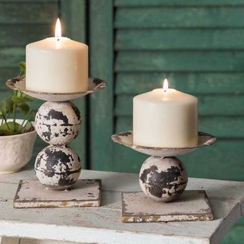 Spheres Pillar Candle Holders