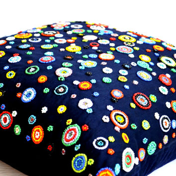 Blue pillowcase with colorful beads embroidery - 20x20 pillow - Navy blue toss pillows - modern pillows - silk pillows- square pillow covers