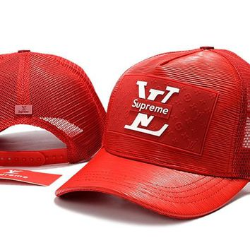 d3390e1b1fd Red LOUIS VUITTION SUPREME Baseball Cap Hat Sports Workout