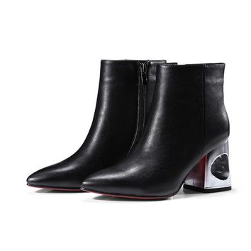 Real cow leather pointed toe zip square cut out high metal heeled booties woman autumn winter ankle boots fashion female booties