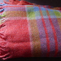 wool plaid throw blanket.  vintage plaid blanket.