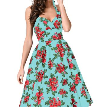 Chicloth Retro Rose Floral Halter Light Blue Cannes Swing Dress