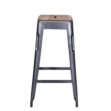 Tolix Style Bar Stool Grey - Iron with Wooden Seat - Reproduction