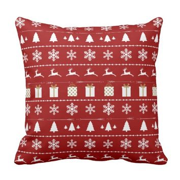 Christmas Sweater Pattern, white on red Pillows