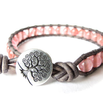 Cherry quarz leather bracelet for women and girls with tree, sympathy gift, confirmation gift, symbol of hope and strength