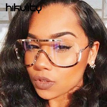 Oversize Shield Clear Aviator Sunglasses