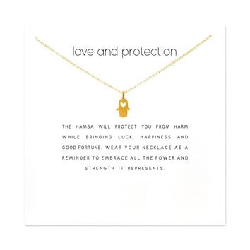 Fashion Heart Fatima Hand Pendant Necklace Women Minimalist Clavicle Chain Choker Necklaces Love And Protection Gift Card