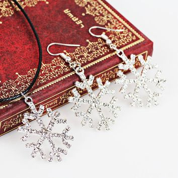 Snowflake Crystal Necklace Jewelry Set